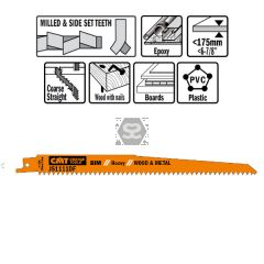 20 Sabre Saw Blades For Wood/metals (bim) 225x4.3x