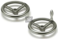 Handwheel 125 dia 12mm bore + revolving side handl