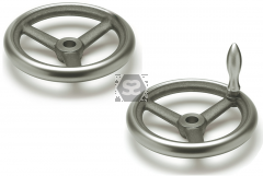 Handwheel 200 dia 20mm bore + revolving side handl