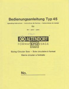 Copy of Manual for Altenford Type 45 Panel Saw