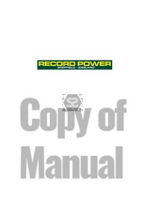 Copy of Manual for Record PT107 Planer Thicknesser