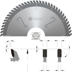 OMAS TCT Panel Sizing Saw Blade d=35 D=450 Z=60 V=