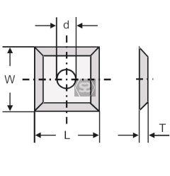 L=10.5 W=10.5 T=1.5 d=4 Carbide Knife
