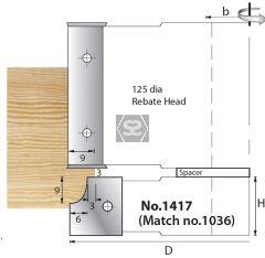 Whitehill 1417 TC Mould Head D=125 x 20 x 30